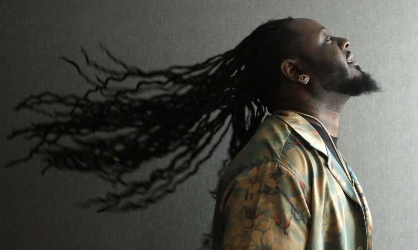 """BEVERLY HILLS, CA -- MARCH 15, 2018: Singer T-Pain released his sixth album, """"1UP"""" in February. (Myu"""