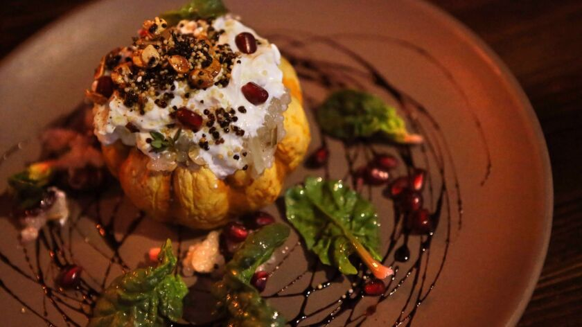 The roast delicata squash with burrata is available at Leona restaurant in Venice.