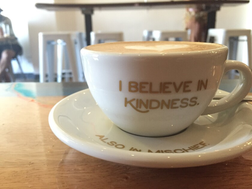 A cup of joe at Kindness & Mischief Coffee in Highland Park; the name comes from a Mary Olive poem.
