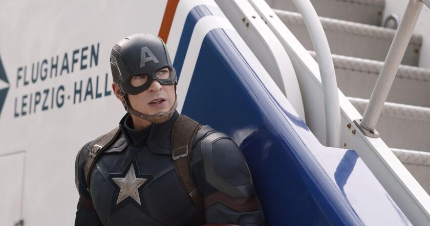"Chris Evans plays Steve Rogers/Captain America in the Marvel superhero film ""Captain America: Civil War."""