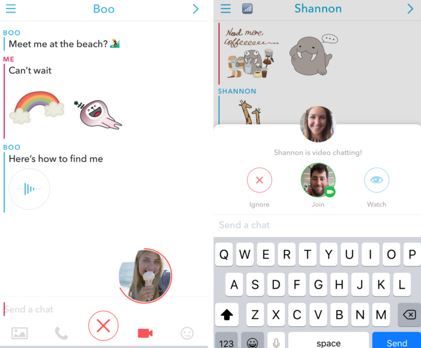 Snapchat's new chat interface includes new calling features.