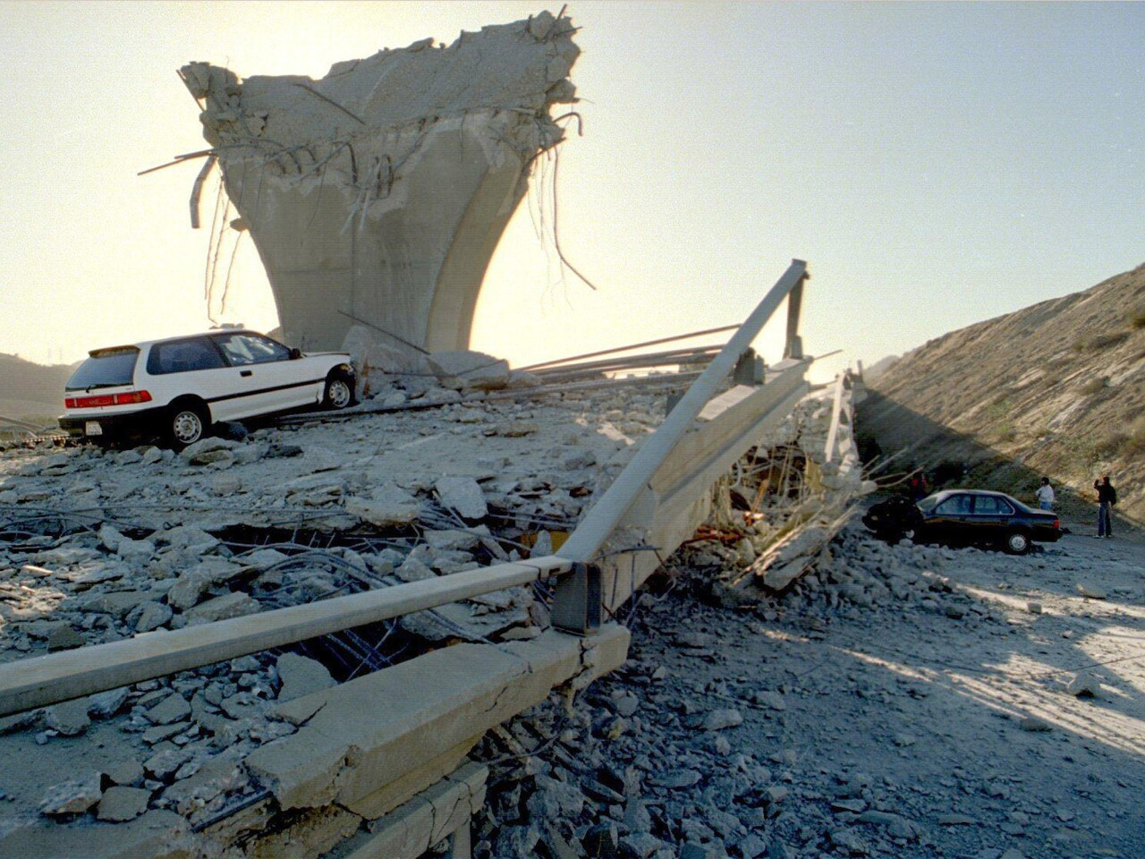 Only rubble remains at the junction of the 5 and 14 freeways following the 1994 Northridge earthquake.