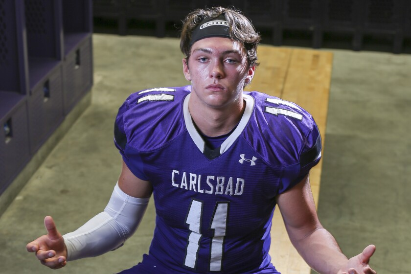 Carlsbad's Kyle Vassau has 73 tackles, eight sacks, 15 tackles for loss and 10 quarterback hurries.