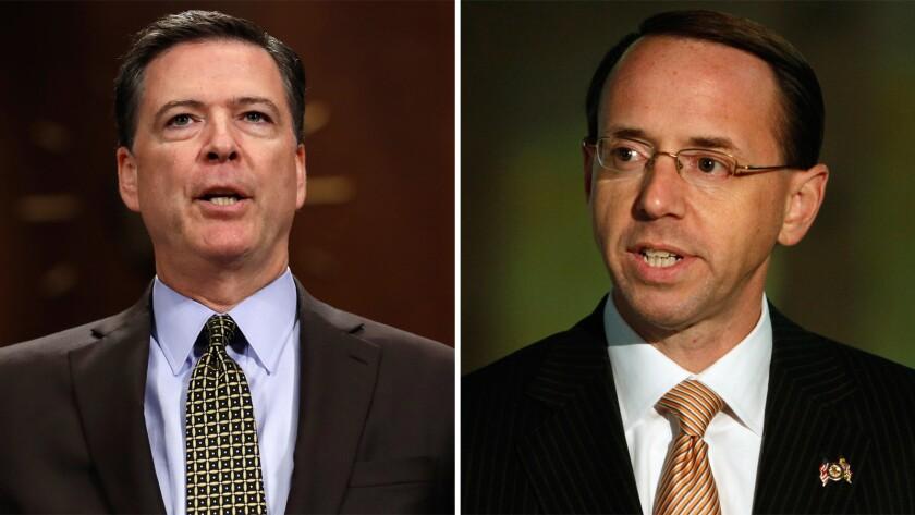 Fired FBI Director James B. Comey and Deputy Atty. Gen. Rod Rosenstein