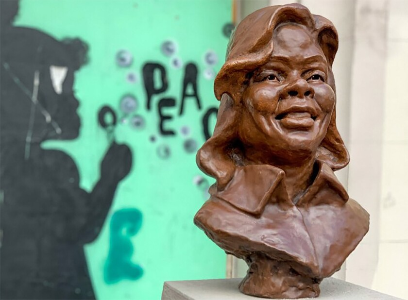 The bust of Breonna Taylor is seen before it was vandalized over the weekend.