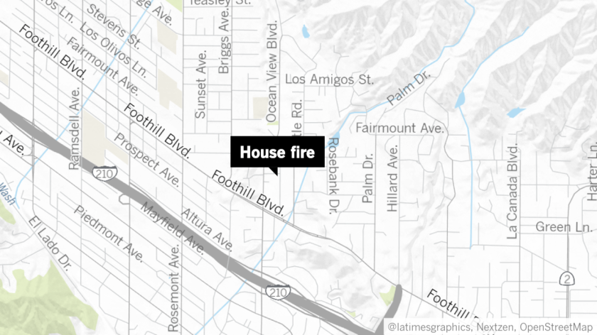 A garage in the 4600 block of Rockland Place of La Cañada Flintridge caught fire Sunday afternoon after a fire brick was placed near several combustible objects, according to the Los Angeles County Fire Department