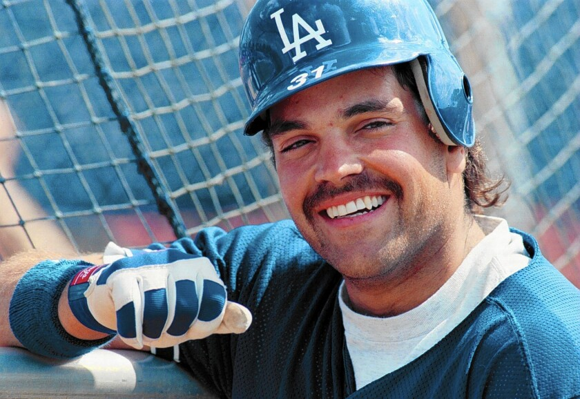 Dodgers catcher Mike Piazza during batting practice at spring training in 1996.