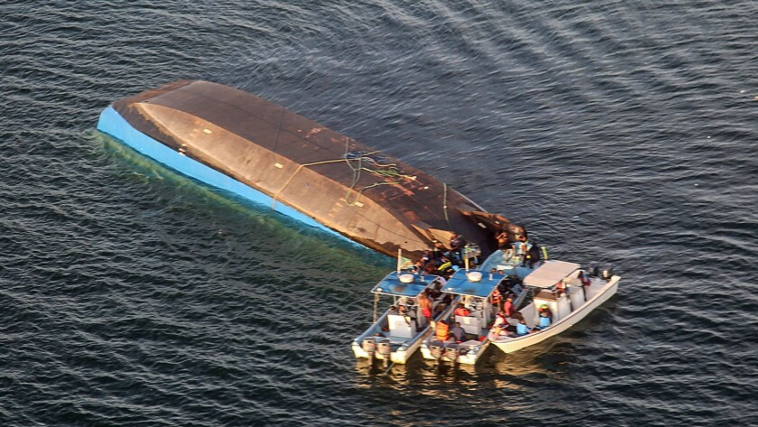 The capsized ferry MV Nyerere in Lake Victoria on Friday.