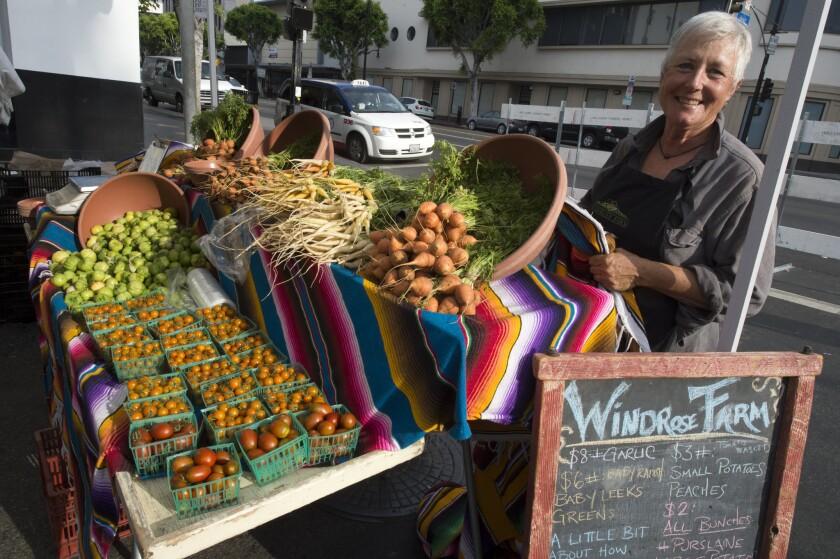 Barbara Spencer of Windrose Farm at the Hollywood farmers market.