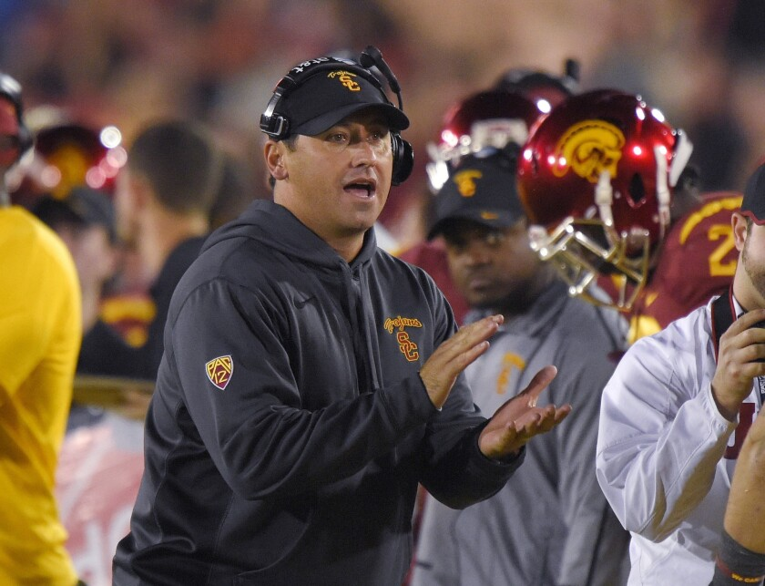 USC Coach Steve Sarkisian claps his hands during the second half of the Trojans' 38-30 win over California on Nov. 13.