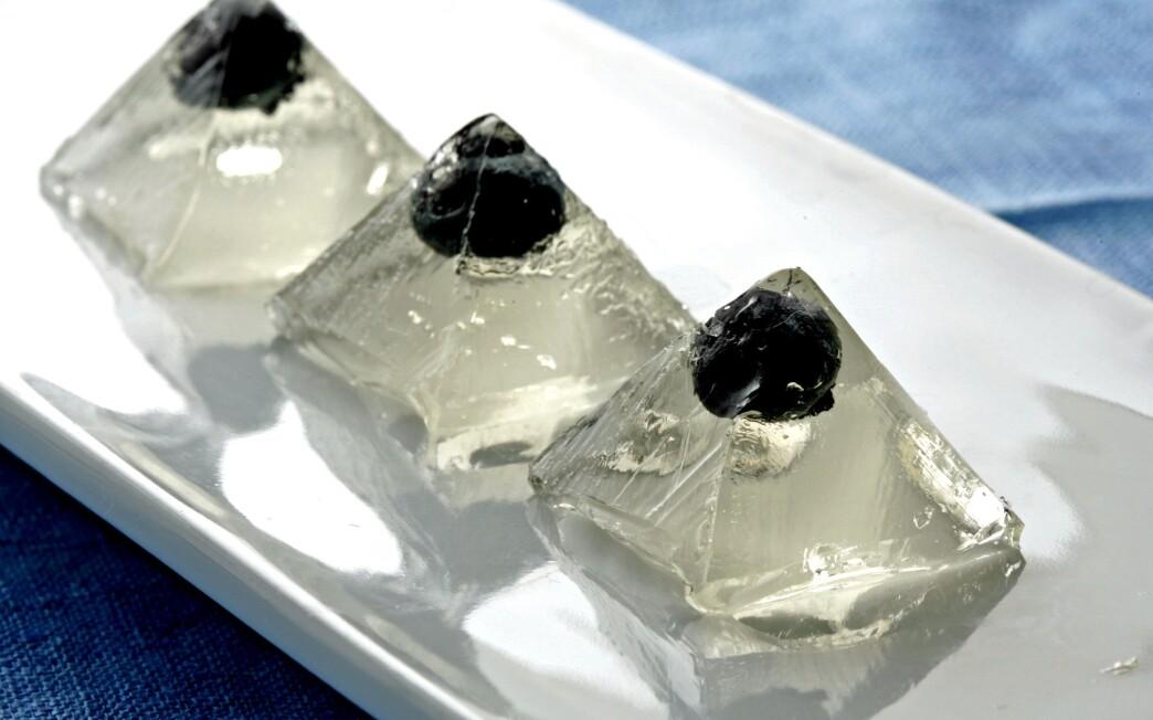 Blueberry martini jelly shots