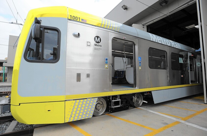 Kinkisharyo International will retrofit an existing site in Palmdale to build light-rail vehicles for the Metropolitan Transportation Authority. Above, Metro unveiled the new Kinkisharyo P3010 rail cars last month in Lawndale.