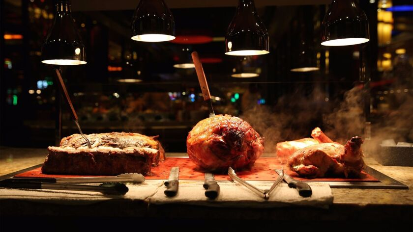 The carving station at Harrah's Resort SoCal features smoked meats including tri tip and prime rib,