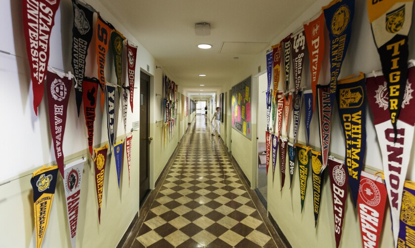 College pennants line the hallway at the Archer School for Girls in Brentwood.