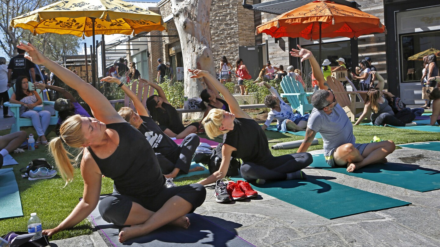 A yoga class at the retail center.