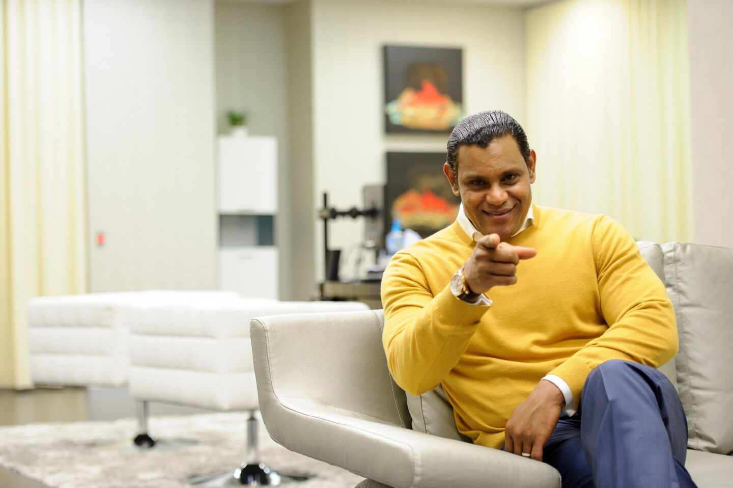 Former Cub Sammy Sosa during a photo session on December 11, 2012.