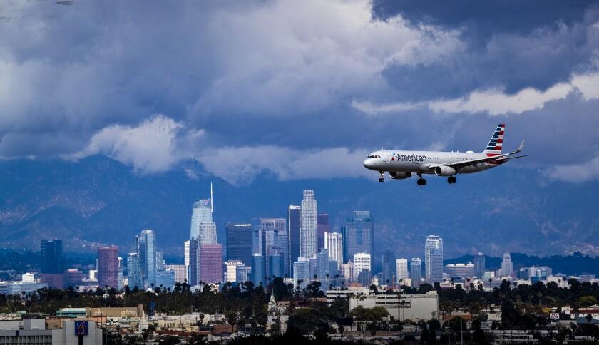 American Airlines plane over Los Angeles