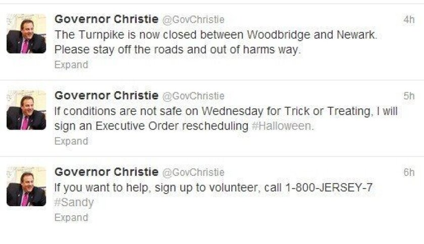 New Jersey Gov. Christie's Twitter feed.