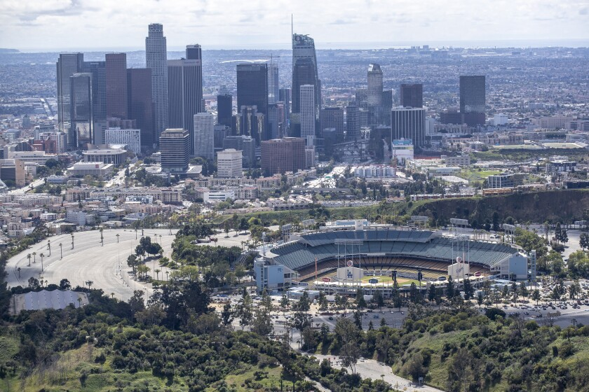 Dodger Stadium and downtown Los Angeles.