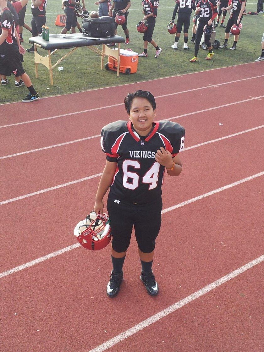 La Jolla High School football team's defensive tackle, Cynthia Chhoeung