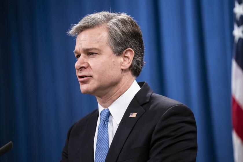 El director del FBI Christopher Wray en Washington el 28 de octubre del 2021.