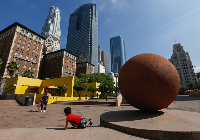Downtown Los Angeles' Pershing Square, seen in May 2016.
