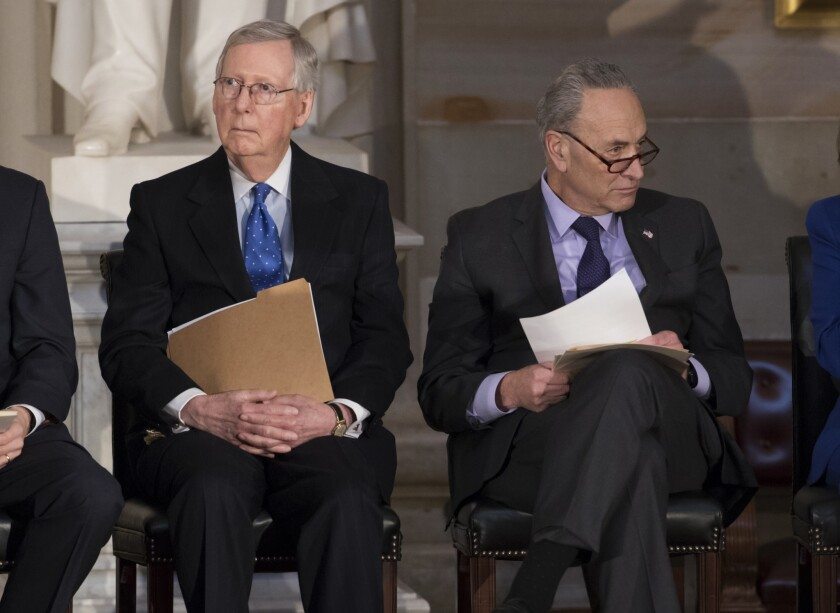 Senate Majority Leader Mitch McConnell (R-Ky.), left, and Senate Minority Leader Charles E. Schumer (D-N.Y.) in 2018.