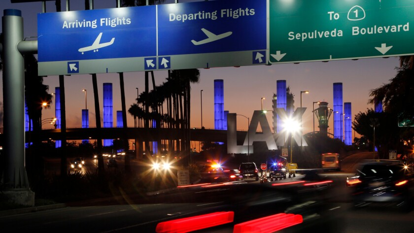 The Century Boulevard entrance to Los Angeles International Airport.