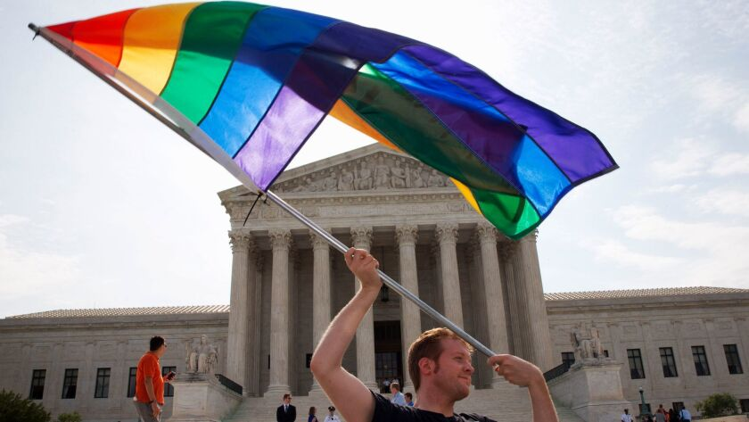 A majority opinion written in 2015 by a Reagan-appointed Supreme Court justice legalized same-sex marriage in the United States, notes the president of the Log Cabin Republicans.