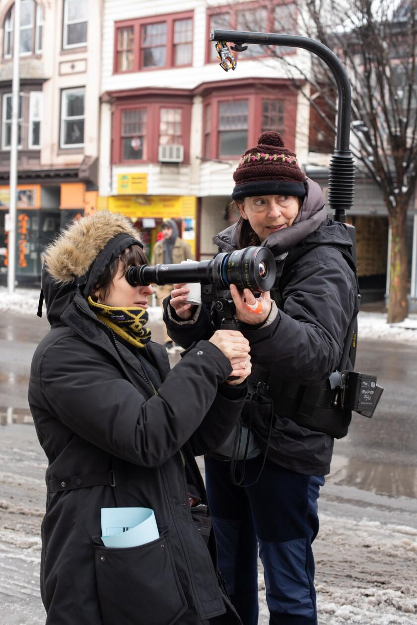 "Director Eliza Hittman and cinematographer Hélène Louvart behind the camera on the set of ""Never Rarely Sometimes Always."""