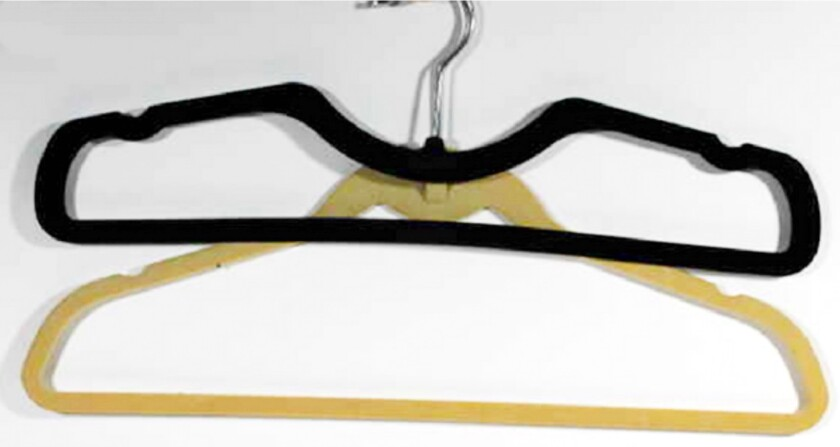 Do wrinkled clothes hang you up? Higher Hangers, top, have less slope than standard hangers.