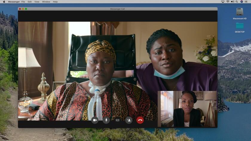 "LaRita Brooks (left), Danielle Brooks and Marsha Stephanie Blake star in an episode of Netflix's ""Social Distance."""