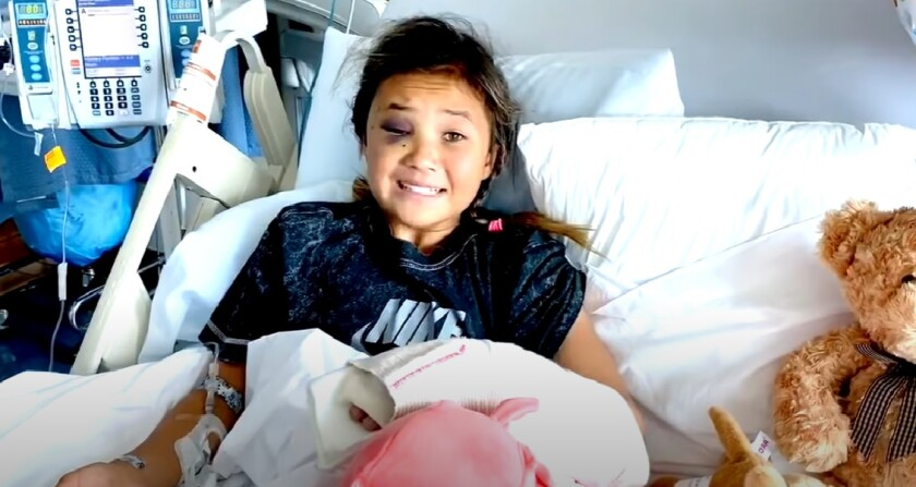 """Skateboarder Sky Brown, age 11, posted a video from her hospital bed following what she called """"my worst fall."""""""