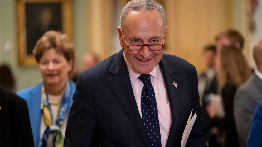 "Senate Minority Leader Chuck Schumer, shown at the Capitol on April 9, says Majority Leader Mitch McConnell ""has turned the Senate into a legislative graveyard."""