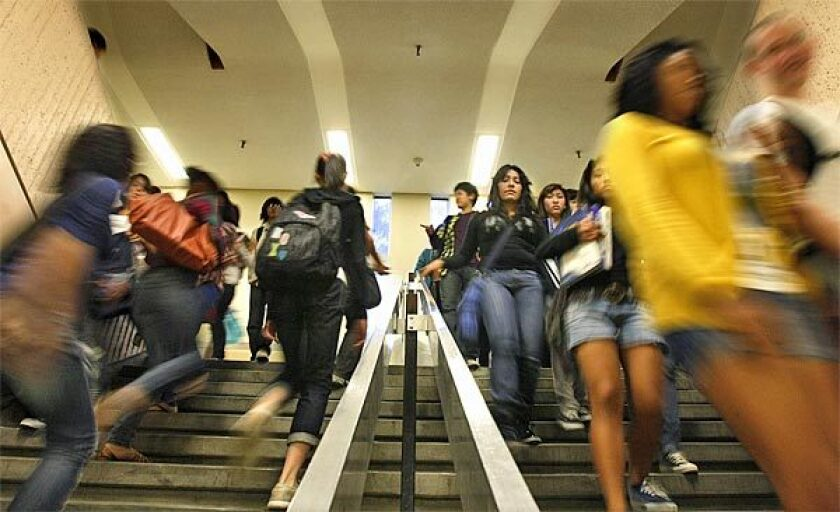Students rush between class periods at Fairfax High School.