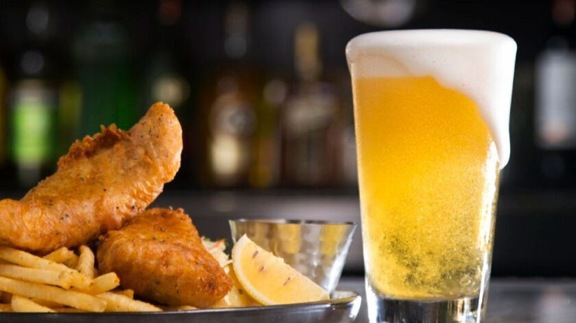 Fish & chips meets Mikkeller San Diego's Shapes ale at Westroot in Carmel Valley.