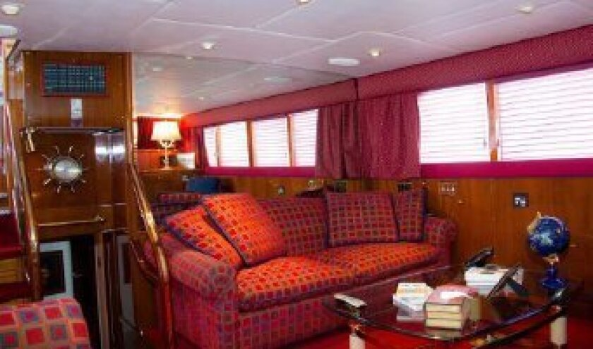 Boat interior lower salon.