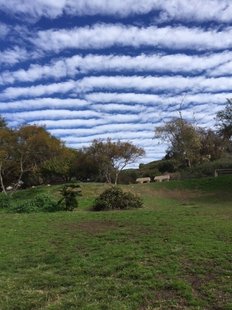 Clouds form a ladder in the sky over Starkey Mini Park.