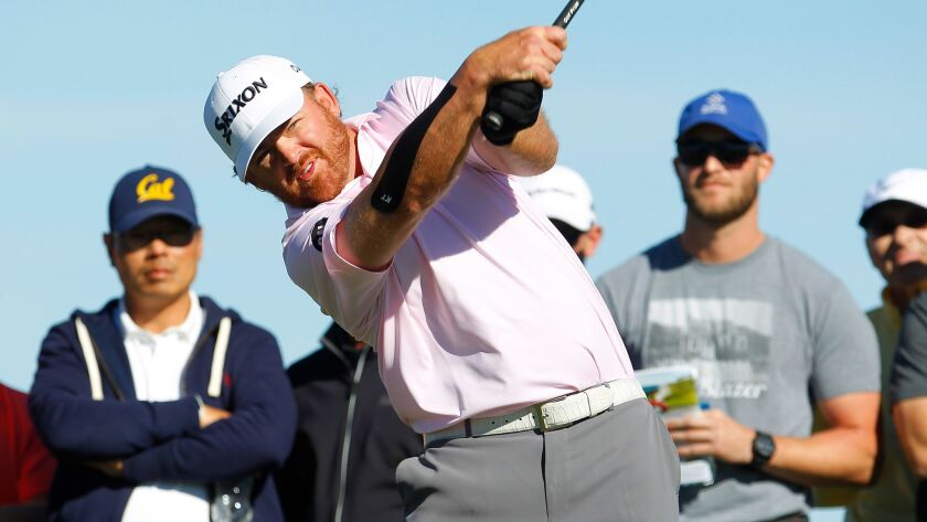J.B. Holmes tees off on the 2nd hole of Torrey Pines south course during the fourth round of the Farmers Insurance Open on January 28, 2018.