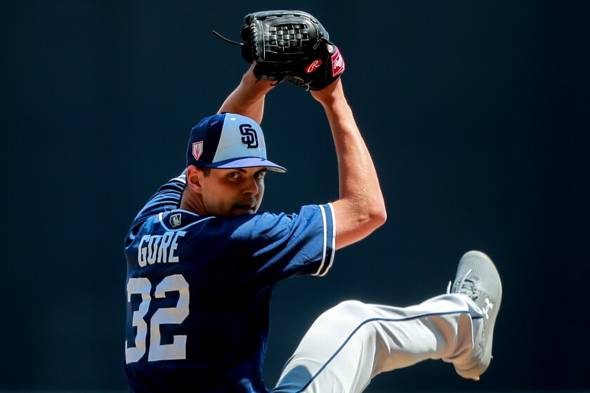 Mackenzie Gore of San Diego Padres pitches in the 3rd inning during the friendly game between San Diego Padres and Diablos Rojos at Alfredo Harp Helu Stadium on March 24, 2019 in Mexico City, Mexico.
