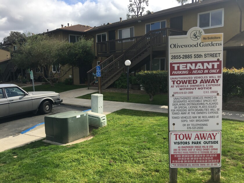 Rents spiked 43 percent last fall at the Olivewood Gardens Apartments in the Oak Park neighborhood of City Heights