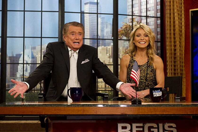 "Regis Philbin on his final episode of ""Live! With Regis and Kelly,"" with Kelly Ripa."