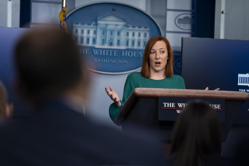 White House Press Secretary Jen Psaki speaks during a news briefing.
