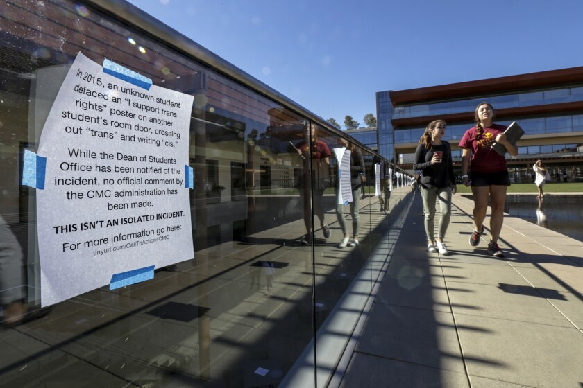 Numerous flyers printed with students personal experiences of racism on campus are posted around Claremont McKenna College.
