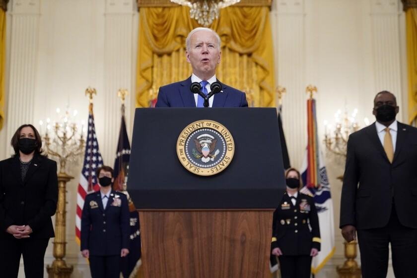 El presidente estadounidense Joe Biden en la Casa Blanca, en Washington el 6 de marzo del 2021.