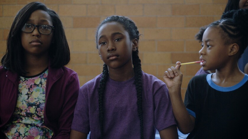"""Royalty Hightower, center, in the movie """"the Fits."""""""