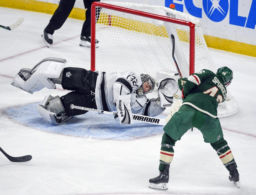 The Wild's Jared Spurgeon scores past Kings goalie Jonathan Quick on Oct. 26, 2019.