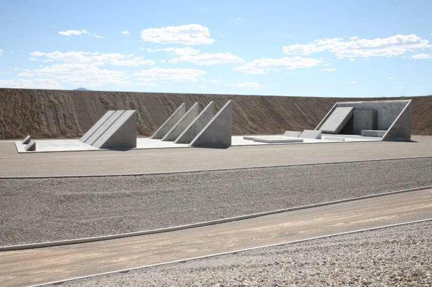 """A view of """"City,"""" artist Michael Heizer's monumental work of land art in the Nevada desert. There is a movement afoot to protect the land around the work."""