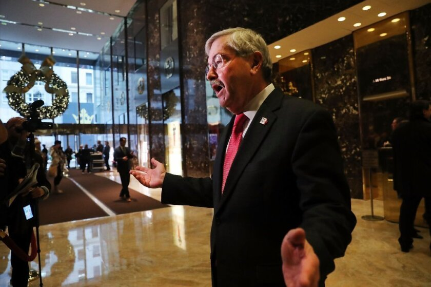 Iowa Gov. Terry Branstad at Trump Tower in New York City on Dec. 6.