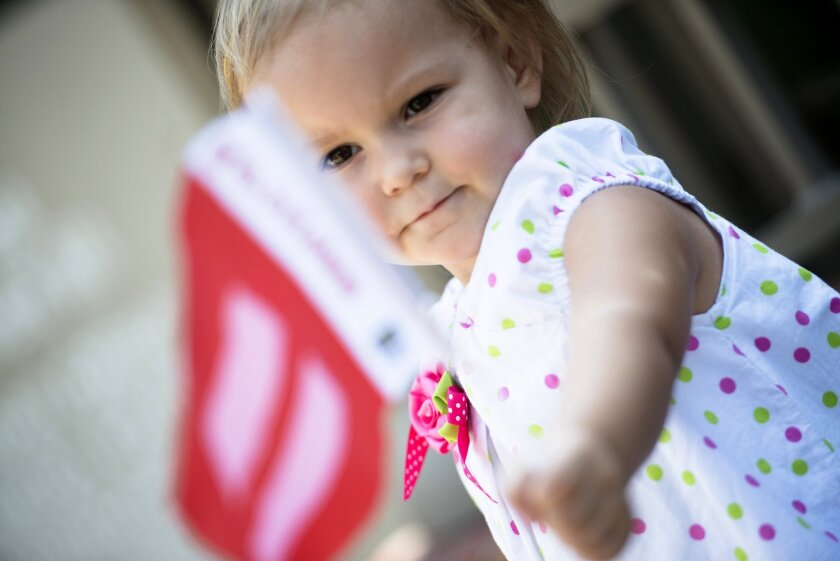 Ali Day, 2, waved a flag during a celebration in Montogomery, Ala., after the U.S. Supreme Court ruled that same-sex marriage was legal in all 50 states. Her parents, Lisa Day and Kellie Day, had just received a marriage license after being together for 27 years.